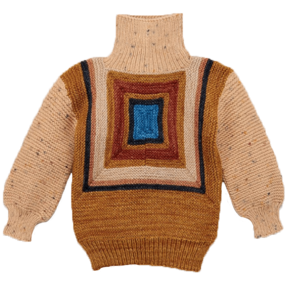 Misha and Puff Camel Log Cabin Split Neck Sweater
