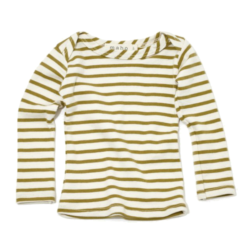 Mabo Chartreuse Striped Long Sleeve Tee