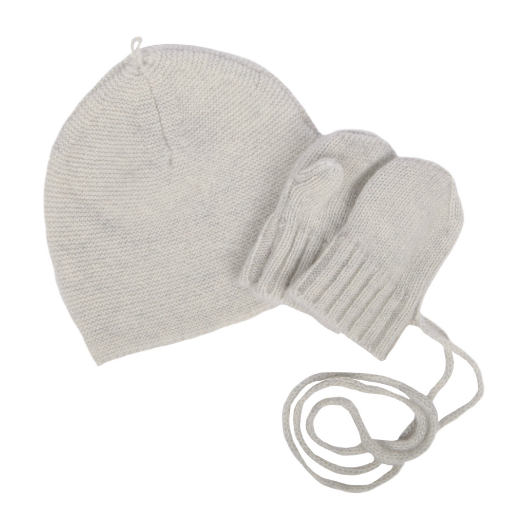 Makie Soft Grey Cashmere Infant Hat and Mitten Set