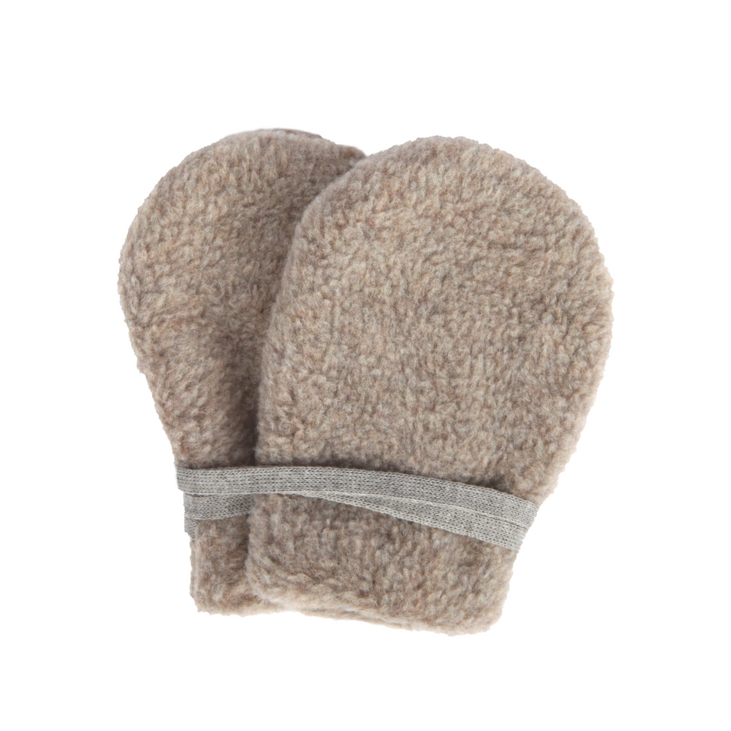 Makie Beige Grey Fleece Baby Mittens