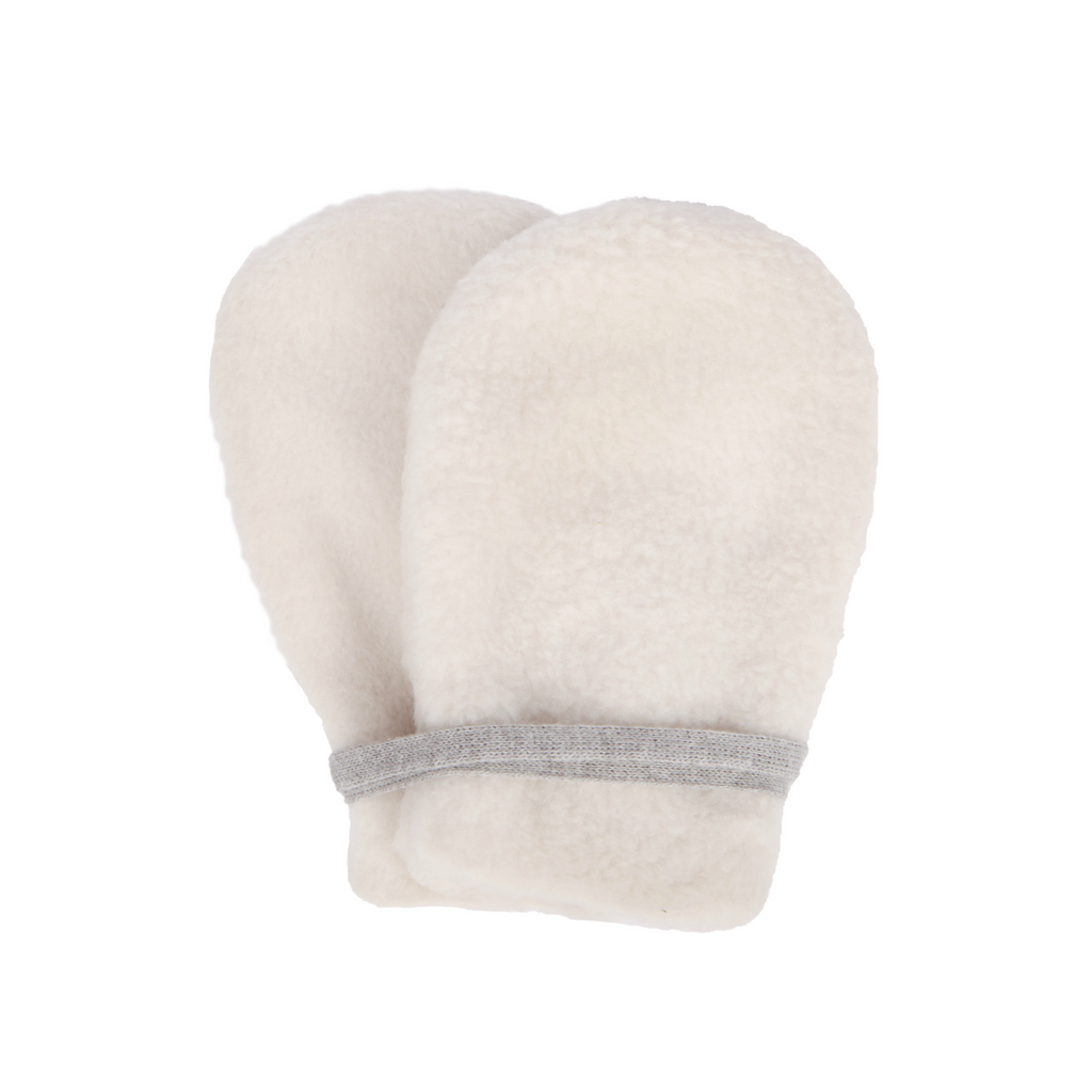 Makie Ivory Fleece Baby Mittens
