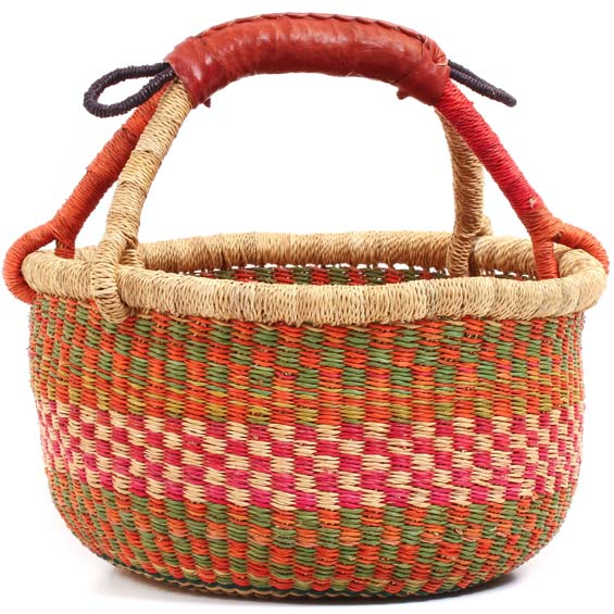 Woven Medium Basket · Pink and Green