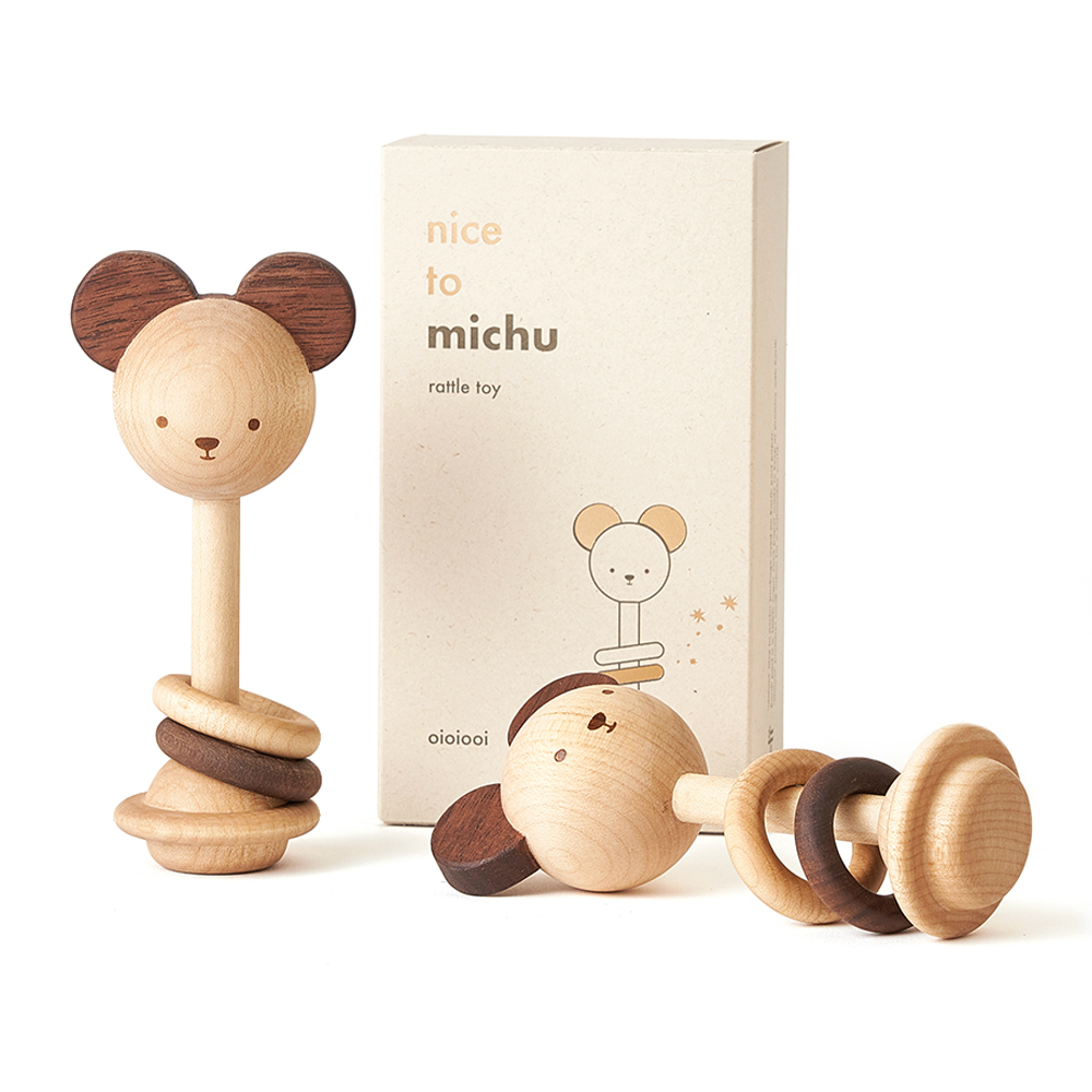 Nice to Michu Wooden Rattle