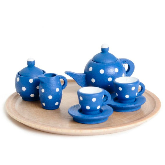 Miniature Blue Polka Dot Dollhouse Tea Set