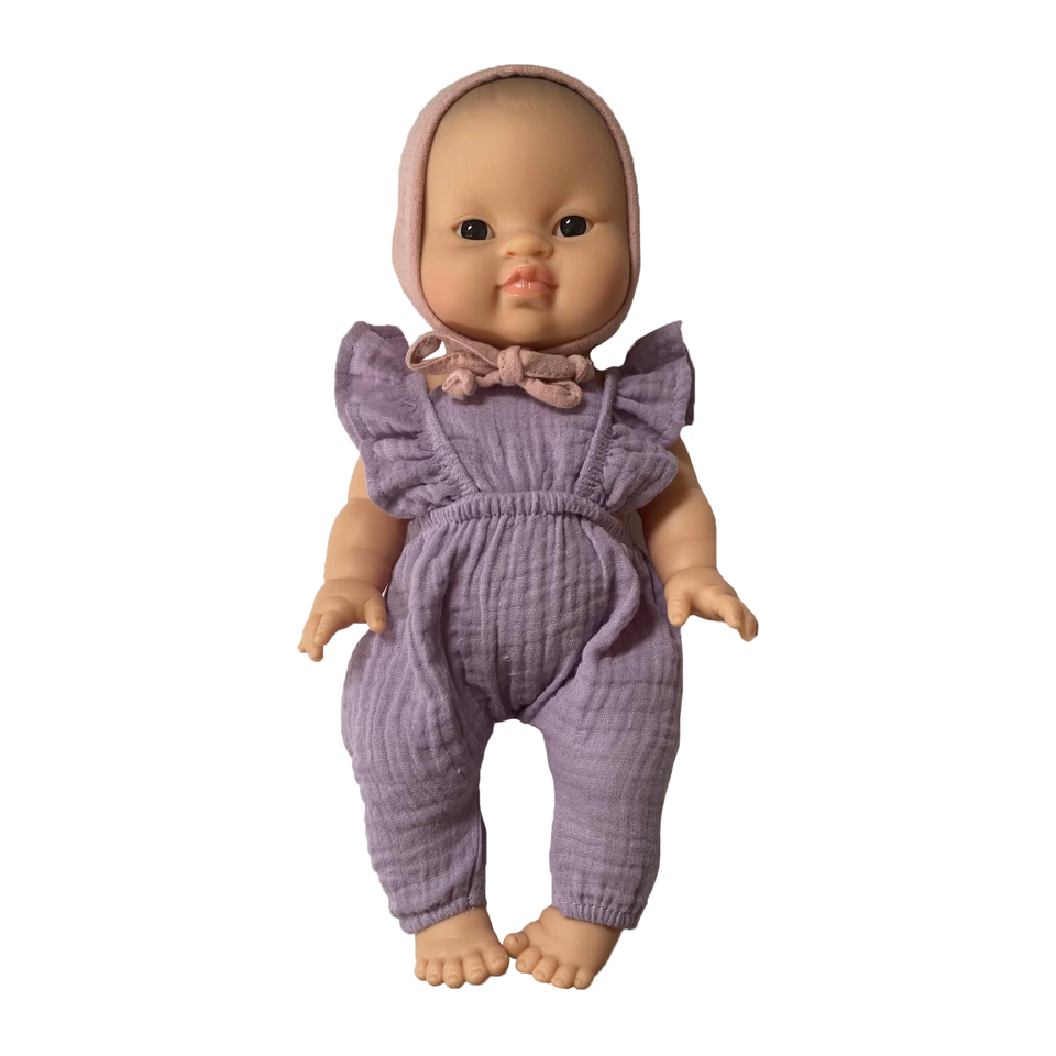 Bath Baby Doll in Lavender Romper and Rose Bonnet · Asian