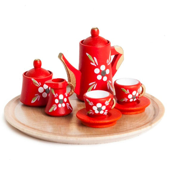 Miniature Red Floral Dollhouse Tea Set