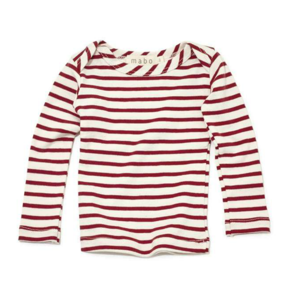 Mabo Scarlet Striped Long Sleeve Tee