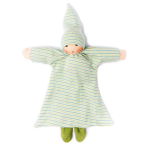 Organic Green Striped Blanket Baby