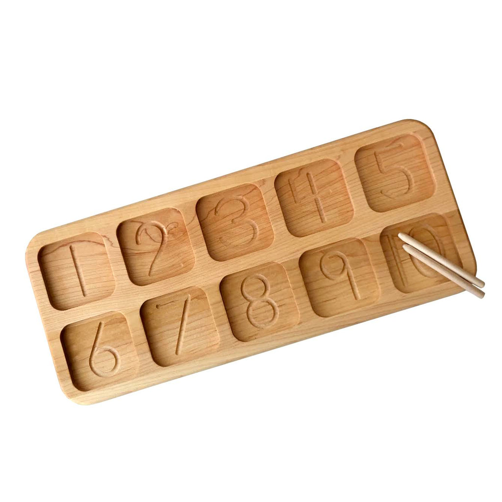 Wooden Counting Board with Engraved Numbers