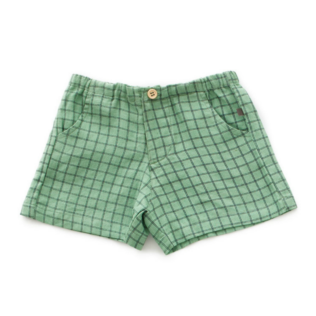 Oeuf Green Plaid Woven Shorts