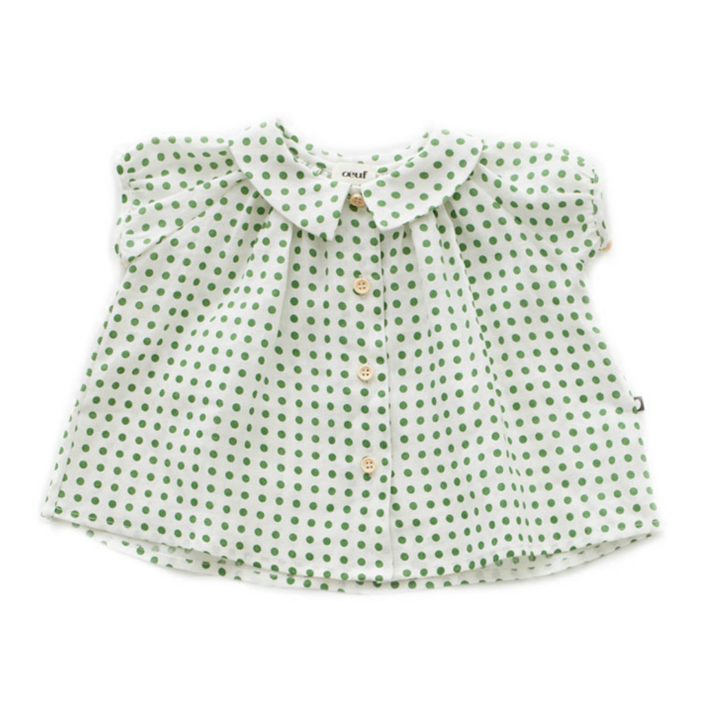 Oeuf Green Polka Dot Blouse