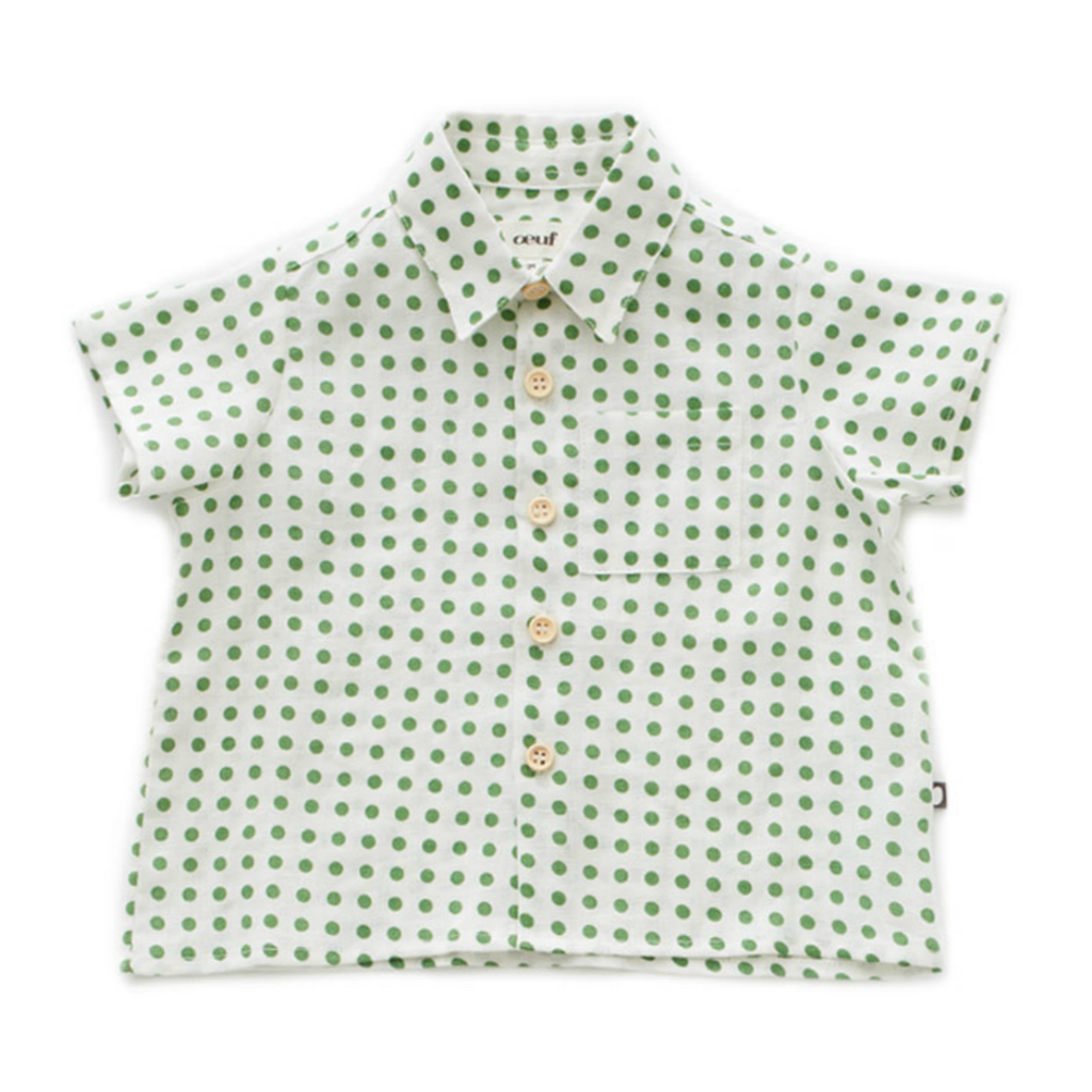 Oeuf Green Polka Dot Button Down