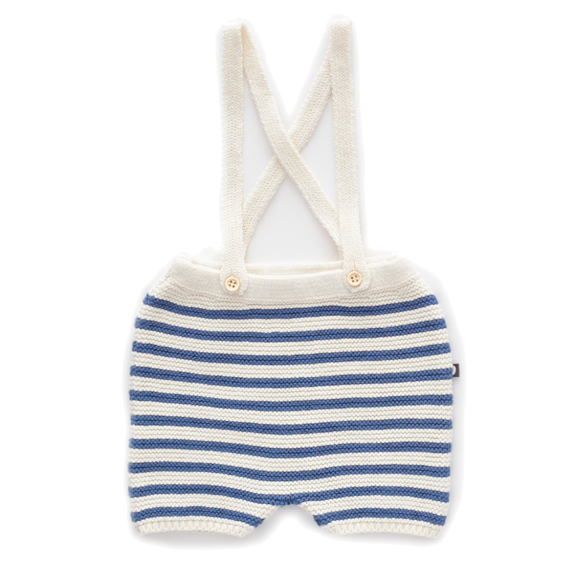 Oeuf Blue Striped Suspender Shorts