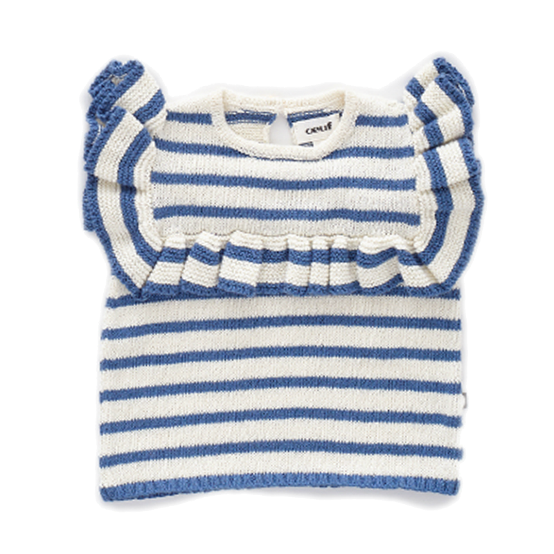 Oeuf Blue Striped Frou Frou Top