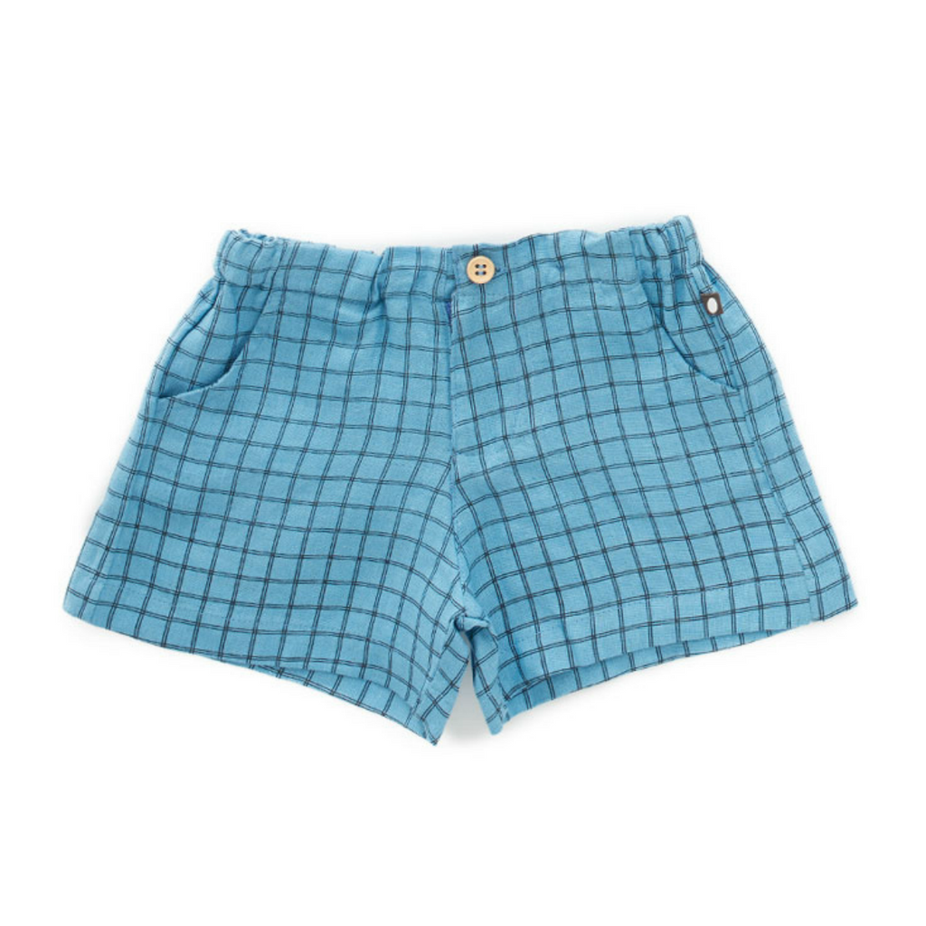 Oeuf Blue Grid Woven Shorts