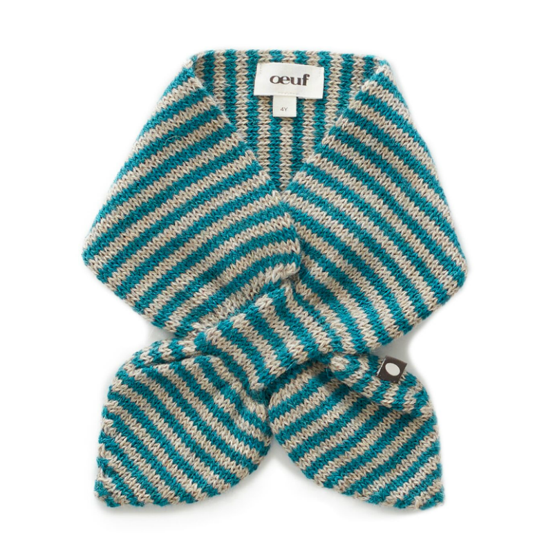 Oeuf Grey Neckie with Teal Stripes