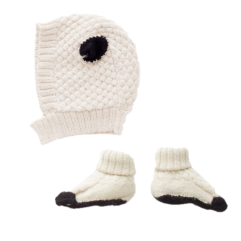 Oeuf Sheep Hat and Bootie Set