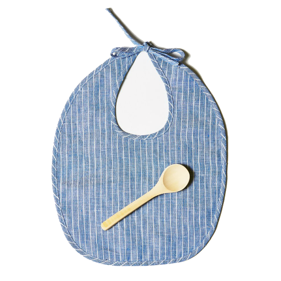 Odette Williams Blue Stripe Bib Set