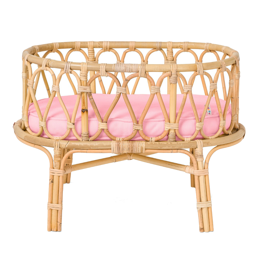 Rattan Doll Crib with Pink Mattress