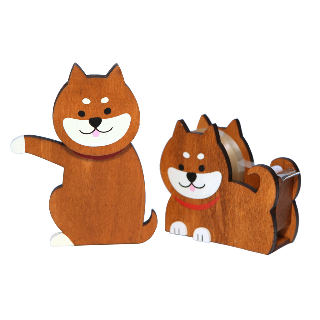 Wooden Dog Pencil and Tape Holder Set