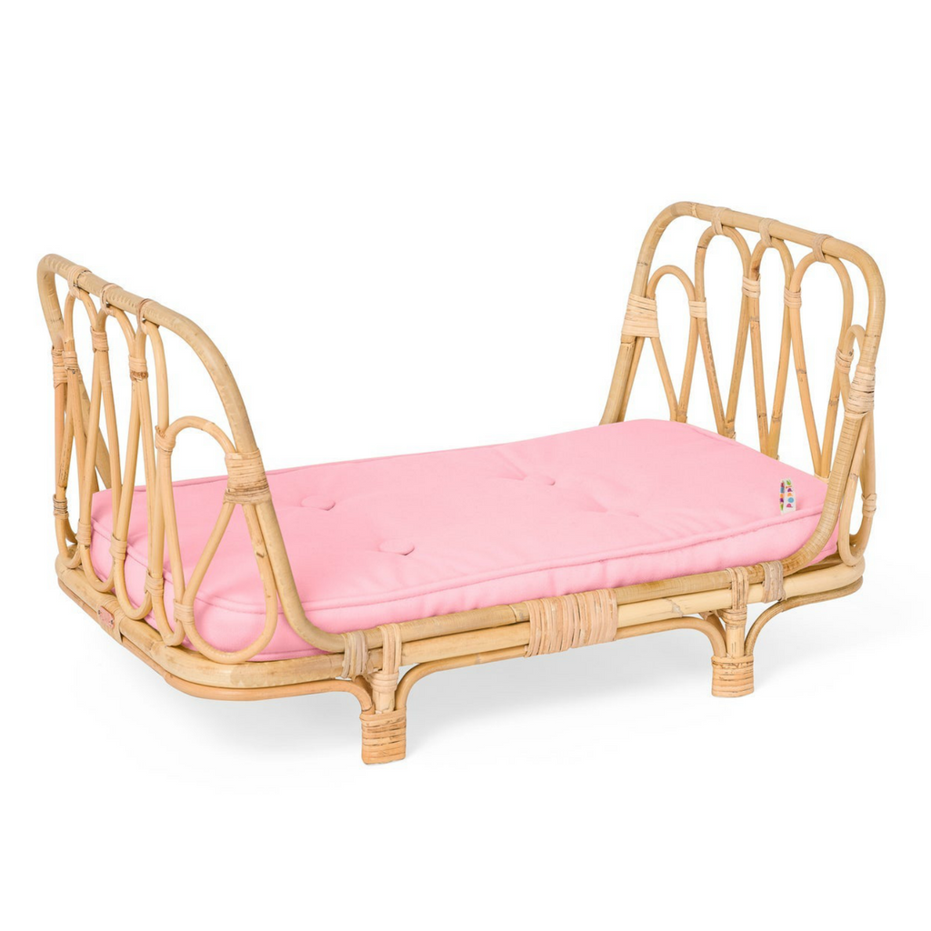 Rattan Doll Bed with Pink Mattress