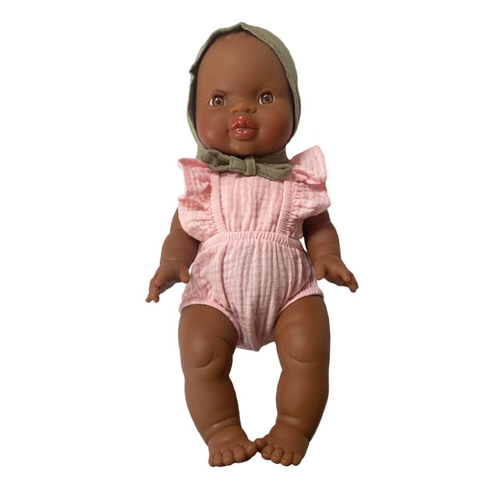 Bath Baby Doll in Pink Romper and Sage Bonnet · Black