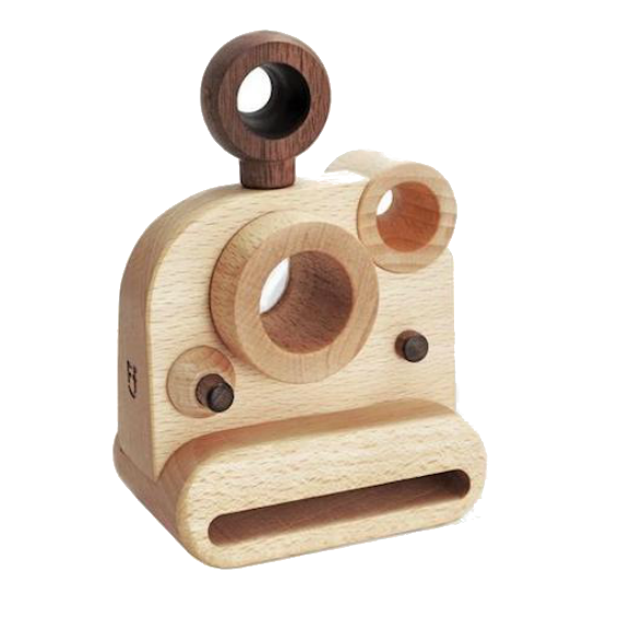Wooden Polaroid Camera with Kaleidoscope Lens