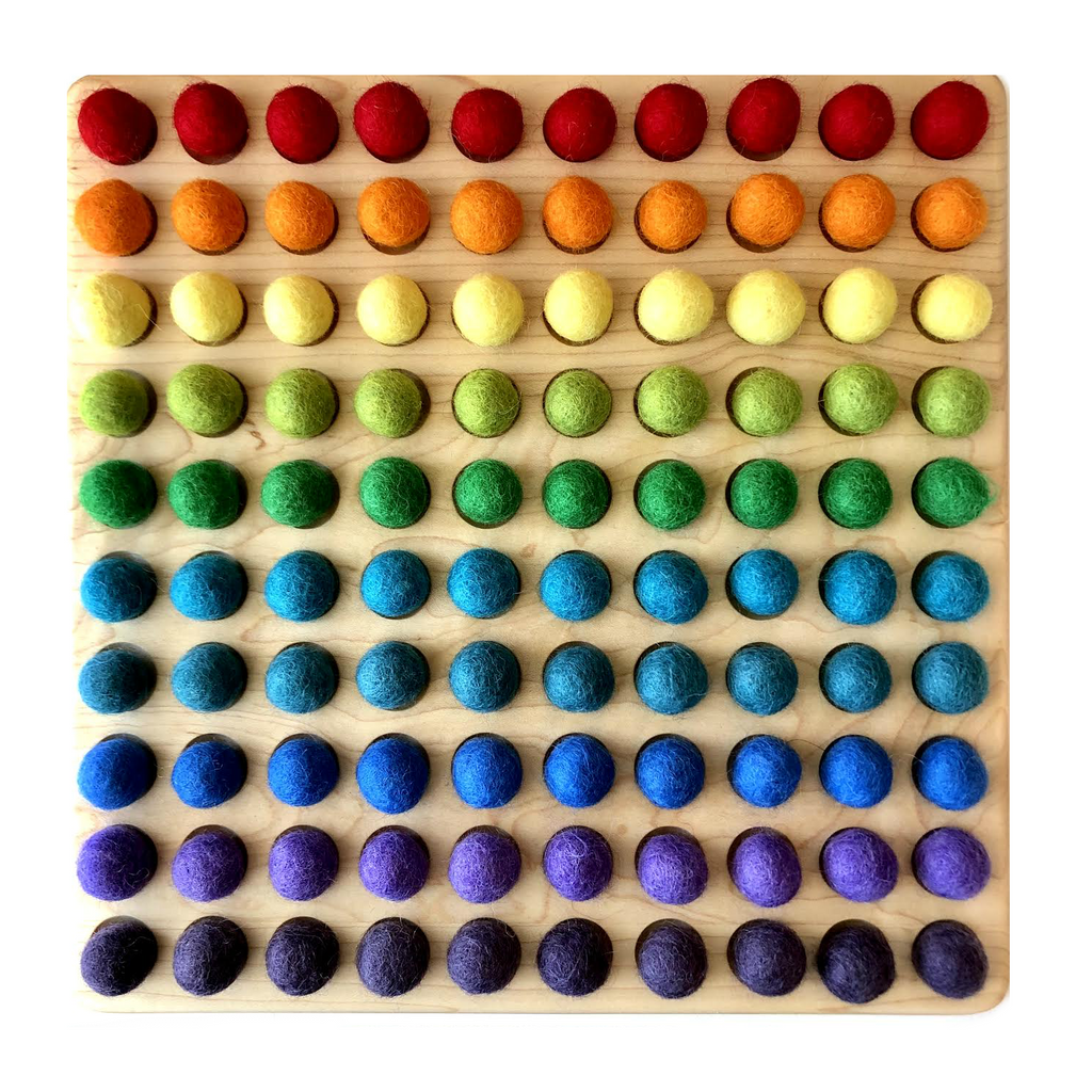 Wooden Counting Board with 100 Primary Colored Felt Balls