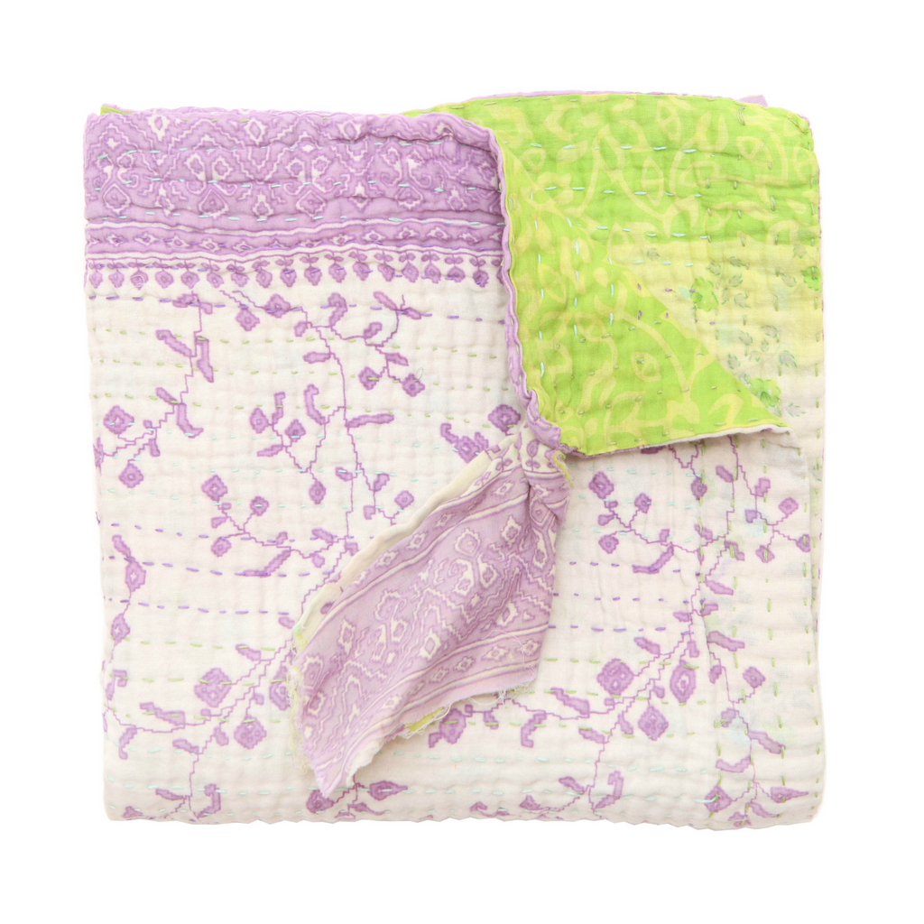 Jeanette Farrier Purple and Lime Kantha Blanket