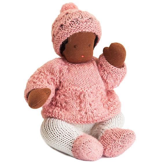 Waldorf Bendable Dark Skin Baby Doll · Pink Outfit