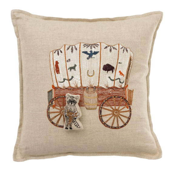 Coral and Tusk Raccoon Saddle Maker Wagon Pocket Pillow