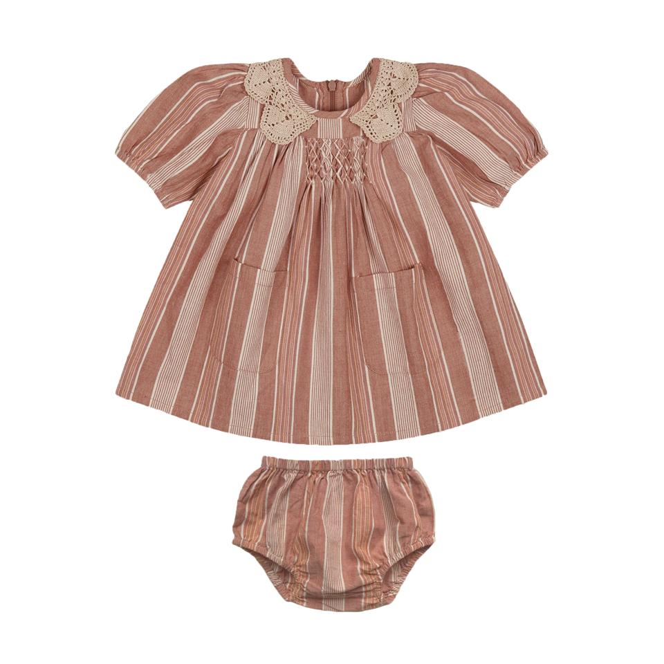 Apolina Rainbow Stripe Baby Viola Dress Set