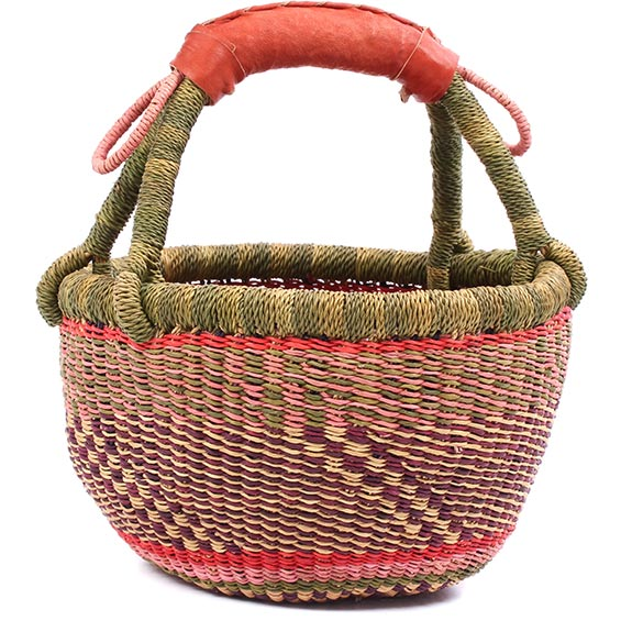 Woven Mini Basket · Pink and Raspberry