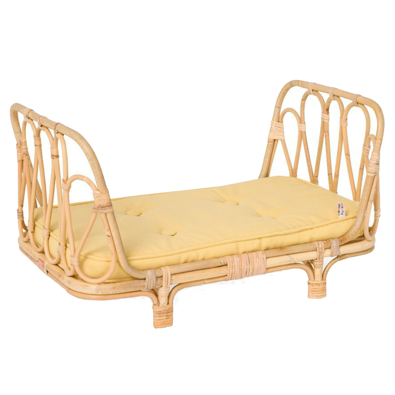 Rattan Doll Bed with Yellow Mattress