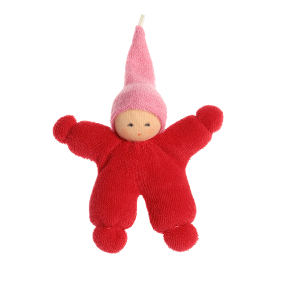 Organic Red Baby with Pink Cap