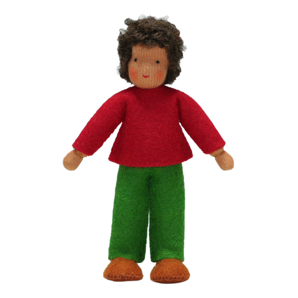Waldorf Dollhouse Boy in Red Top and Green Pants · Brown