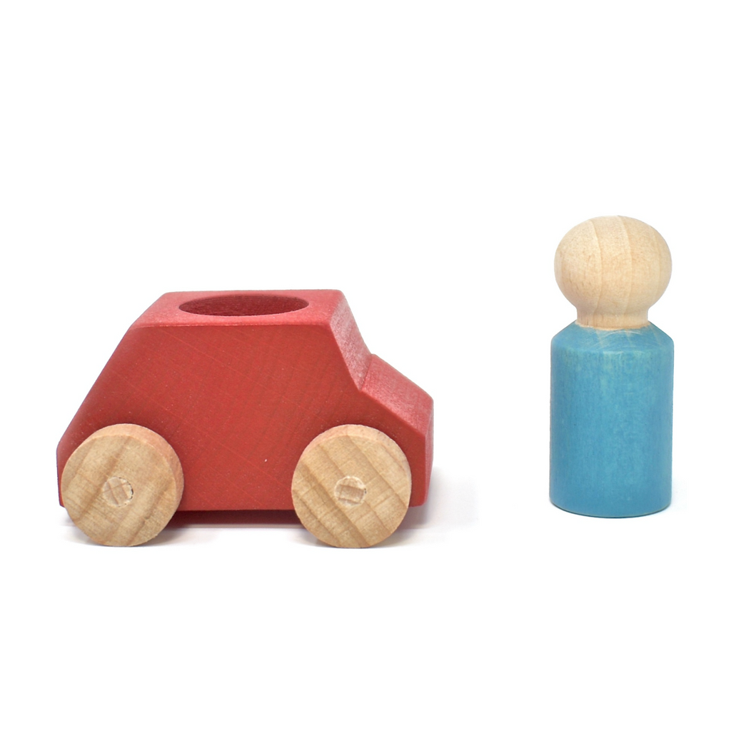 Lubulona Red Car with Turquoise Figurine