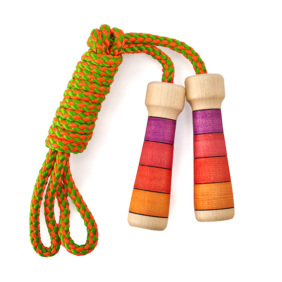 Red Striped Wooden Jump Rope