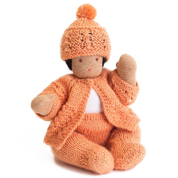 Waldorf Bendable Baby Doll ·  Orange Outfit