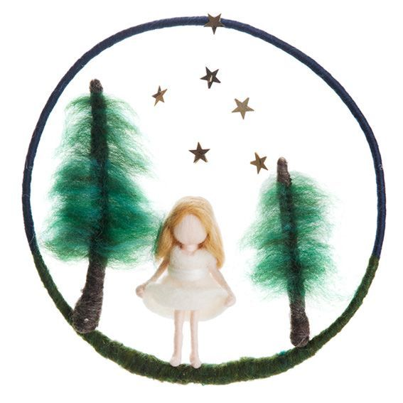 Felted Star Girl Mobile