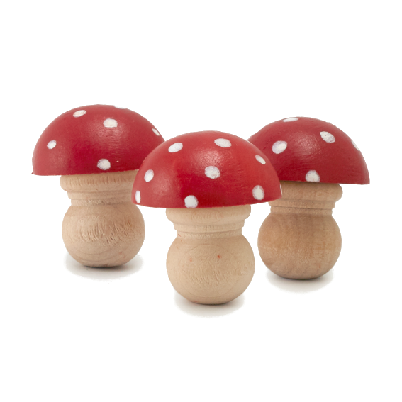 Miniature Red Wooden Mushroom Set