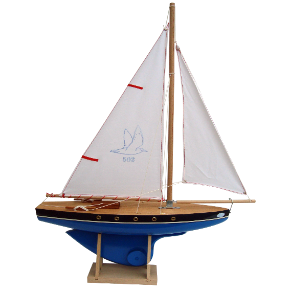 Blue Wooden Ship with White Sails