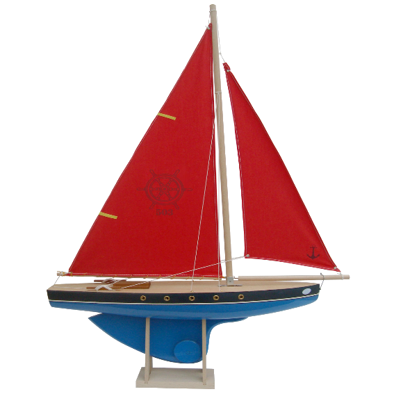 Blue Wooden Ship with Red Sails