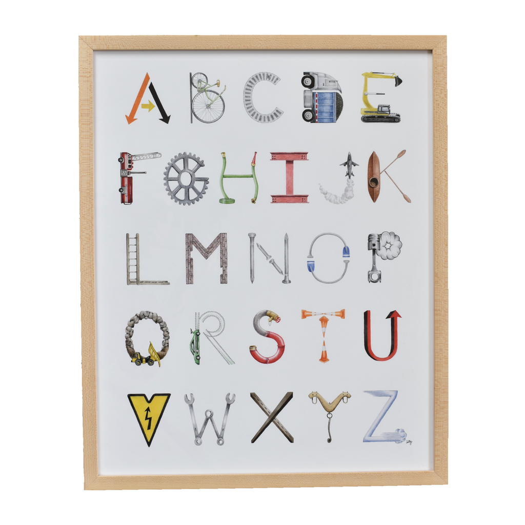 The Letter Nest by Sally McBride · Framed Construction Alphabet Print