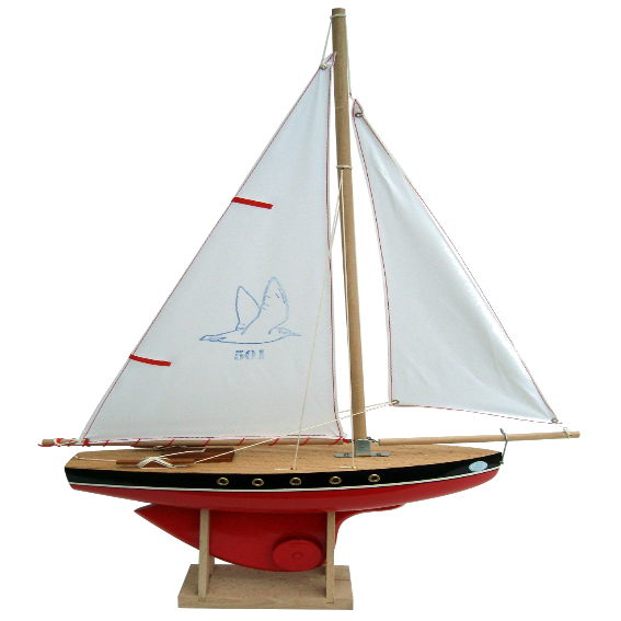 Red Wooden Ship with White Sails