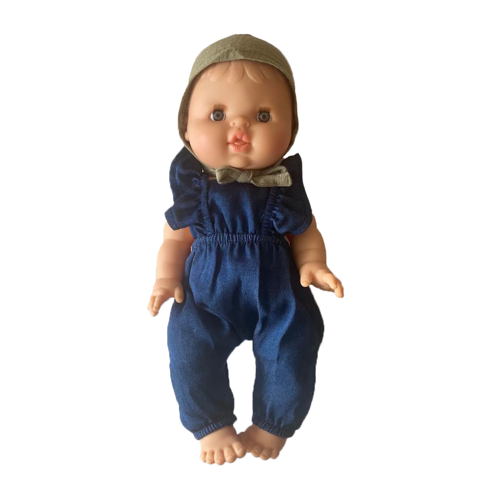 Bath Baby Doll in Denim Romper and Sage Bonnet · White
