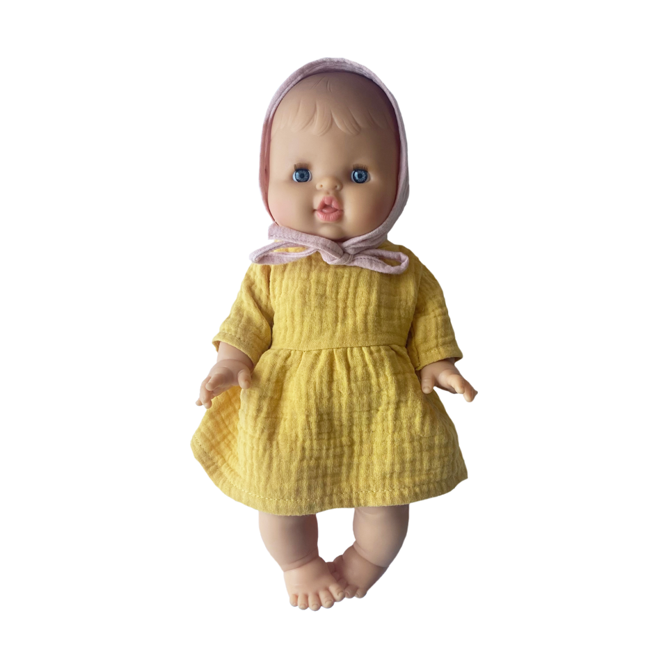 Bath Baby Doll in Yellow Dress and Pink Bonnet · White
