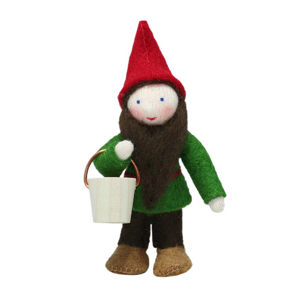 White Forest Gnome with Basket