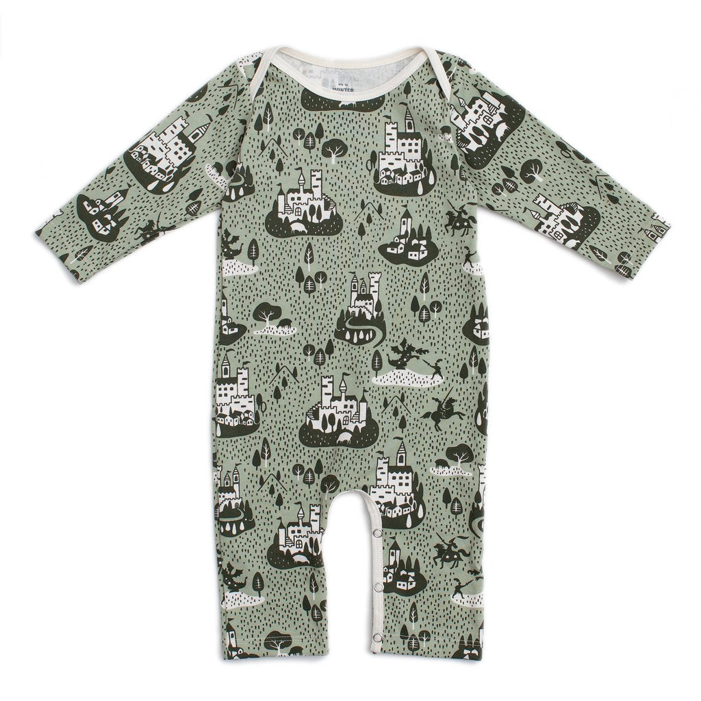 Winter Water Factory Green Long Sleeve Castles Romper