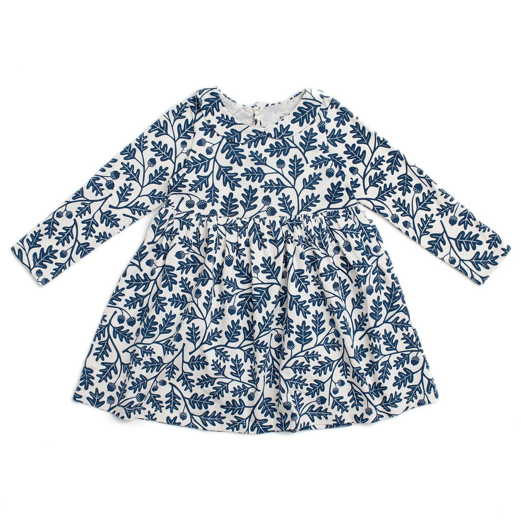 Winter Water Factory Navy Oak Leaves Baby Dress